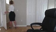 Blonde milf seduced hard with a cam girl