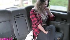 This busty virgin pussy in a taxi