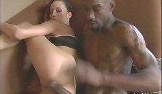 Ebony babe in oil pants fucks big cock before fucking