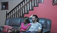 Black teen Sandra seduces a white shed colombian