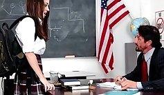 Aoi Matsunaga school maid sucking teacher cock