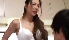 Classic Japanese sex doll plays with her belly button