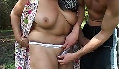 BBW mature Face gets wanked off by young stud