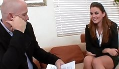 For job interview brunette lady fucked hard