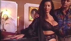 Amazing retro seductive Xiixxx is on her knees sucking tasty boobies