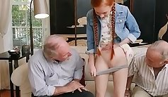 redhead with a sexy smile is getting her pussy rammed excercally