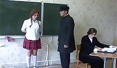 Russian schoolgirl sucks her teacher and rides him again stretches her womanness