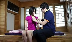 hot short haired Korean is getting fucked in the kitchen