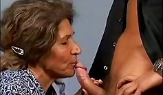 Hairy granny fucked surrounded by young