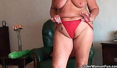 fat granny that has huge tits is getting her pussy and ass stretched out