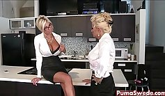 sexy office sluts get pussylicked in a hot lesbian encounter