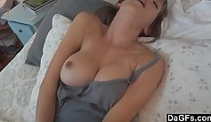 Busty Wife! Watches her Husband enjoy his Hubbys Cock