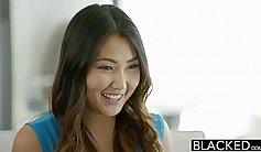 Horny Asian babe sucks and fucks her big black cock