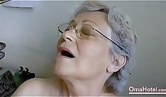 Skinny blond granny toys her hairy pussy