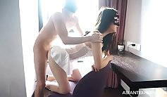 Oriental asian girl rough fucked on real homemade