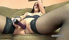 Curvy Brunette MILF with huge dildo in her Twat